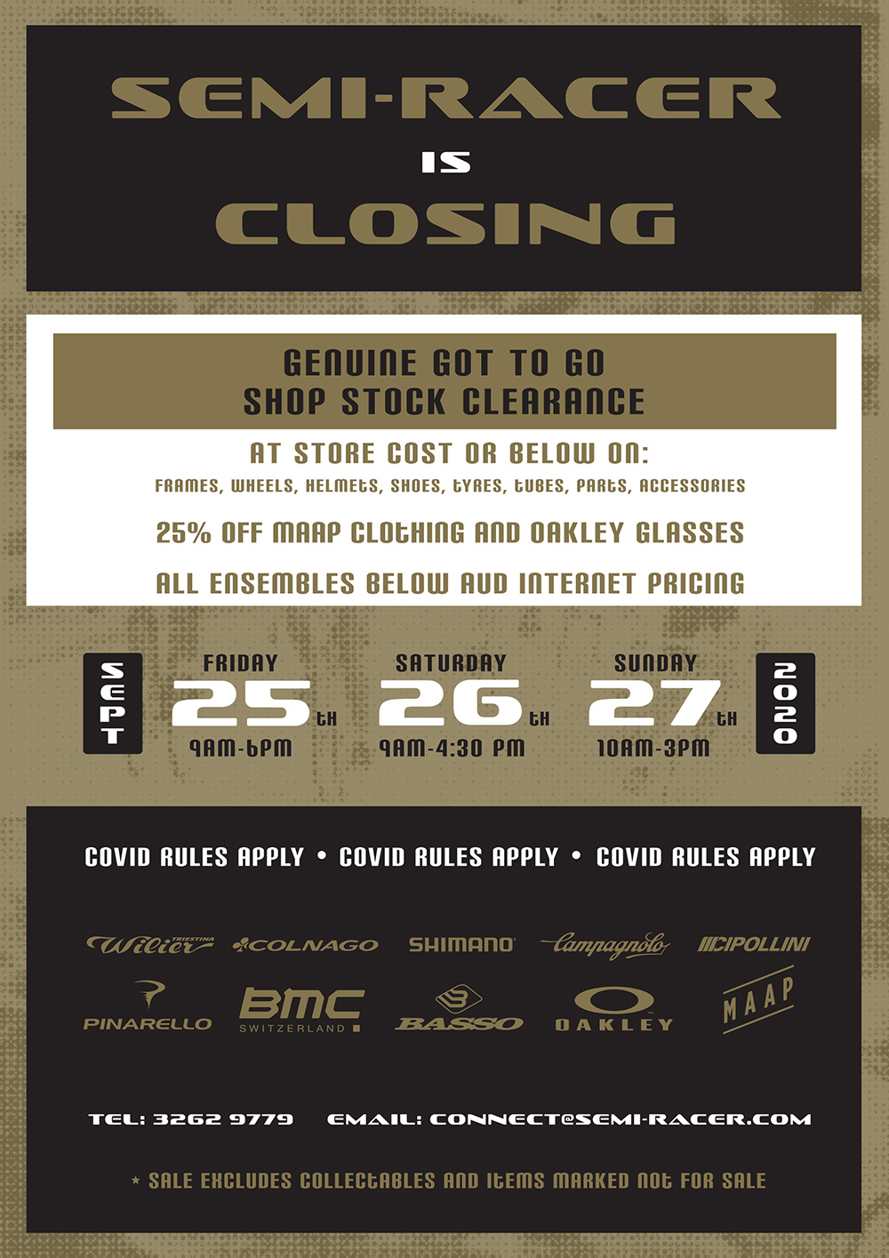 Semi-Racer is closing - Shop stock clearance 25th, 26th and 27th  September 2020 Frames, Wheels, Helmets, Shoes, Tyres, Tubes, Parts & Accessories at shop cost or below
